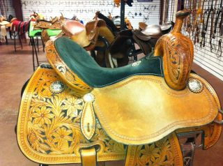 Used Sherry Cervi Crown C Martin Barrel Racing Saddle 14 Suede Seat