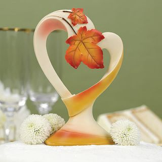 Wedding Cake Toppers Autumn Leaf Heart Shaped Cake Topper Top