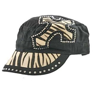Cowgirl Rodeo Zebra Black Cowhide Cadet Cap Hat Rhinestone Cross