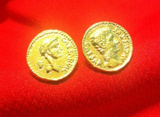 ANCIENT ROMAN RULERS JULIUS CAESAR AUGUSTUS GOLD PLATED COIN CUFFLINKS