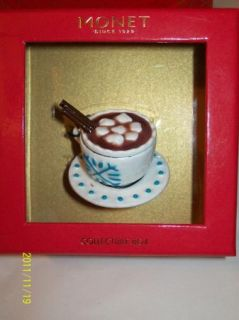 Monet Collectible Hot Chocolate Keepsake Trinket Box Candy Cane Charm