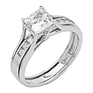 14K White Gold High Polish Finish Princess cut 2.00 CTW Equivalent Top