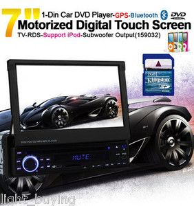 HD 1 DIN 7 Car Stereo DVD Player GPS Dual Zone Radio Bluetooth iPod