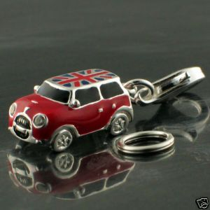 925 Silver Welded Bliss Charm Enamel Mini Cooper Car Union Jack