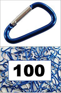 Wholesale Lot 100 Aluminum Carabiners D Ring Crab Biner