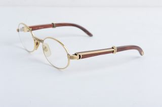 Cartier Eye Glasses Wooden Gold Frame Vintage Paris