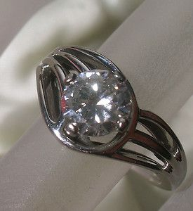 SOLID 18K White Gold DIAMOND 0 79 CARAT RING Vintage Estate Jewelry
