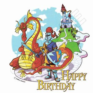 Birthday Dragon Knight Castle Edible Cake Top Image