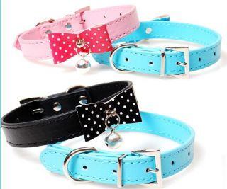 Collars PU Leather Puppy Collar Lap Cat Bell Dog Collar Small Dog Cat