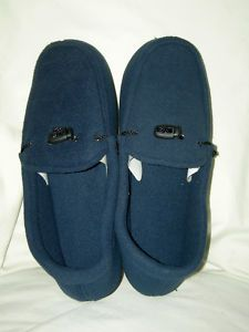 Isotoner Navy Slip on Slippers w Indoor Outdoor Soles Mens Medium 8 9