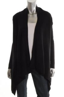 Cece New Black Cashmere Drape Front Long Sleeve Cozy Cardigan Sweater