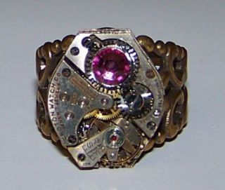 Deep Pink Gem STEAMPUNK Vintage Watch Gear RING Jewelry Published