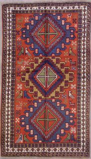 4x6 Rust Persian Tribal Birds Hand Knotted Wool Area Rug Carpet