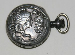 Antique Sterling Silver Art Nouveau Cavour Ladies Pocket Watch