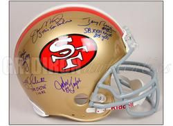 SIGNED 1980s AUTHENTIC GAME HELMET w/JOE MONTANA, JERRY RICE, CLARK