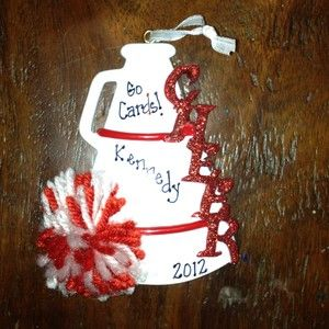 Personalized Red Cheerleader Christmas Ornament Megaphone