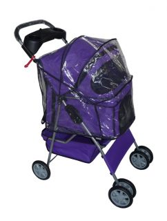 New Stable Purple Pet Dog Cat Stroller w Rain Cover