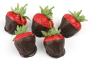 Fake Food Chocolate Dipped Strawberries 5pc Medium Size