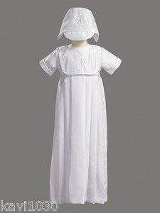 Baby Boys White Christening Baptism Blessing Gown Embroidered w Cross