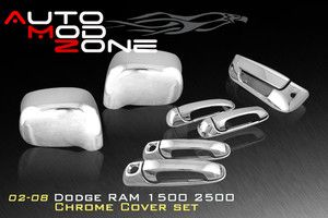 02 08 Dodge RAM 5DR Chrome Door Handle Mirror Cover Combo w PSG