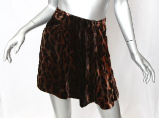 DIANE VON FURSTENBERG Brown LEOPARD PRINT Velvet Pleat Panel *MER