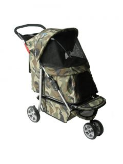 Sporty Camouflage Pet Dog Cat Stroller Carrier w Cup Holder