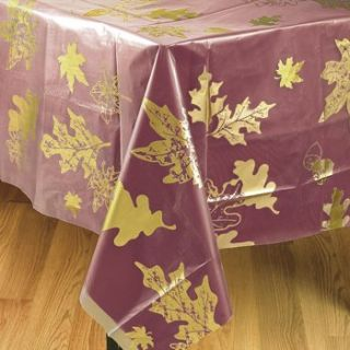 Clear Fall Leaves Table Cover Plastic Tablecloth Decorations