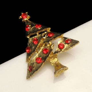 Dimensional Christmas Tree Brooch Pin Red Rhinestones