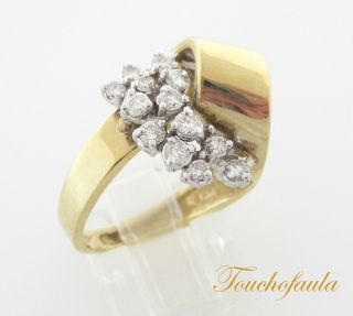 Yellow Gold Beautiful Diamond Cocktail Ring 0 43 cts Size 6 5