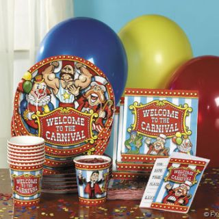 Carnival Circus Set Tableware Invitations Table Clown Birthday Party