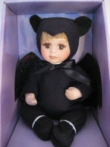 Porcelain Collectible Doll~Baby Dressed n Bat Costume~Happy Halloween
