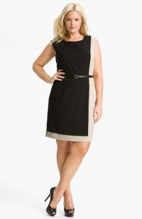 Calvin Klein Colorblock Belted Sheath Dress (Plus)