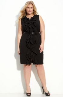 Calvin Klein Ruffle Front Belted Dress (Plus)
