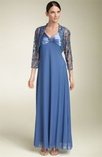 Patra Chiffon Gown with Beaded Lace Jacket
