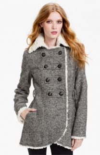 GUESS Faux Shearling Fur Trim Peacoat (Online Exclusive)