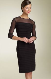 Adrianna Papell Illusion Yoke Pleated Dress