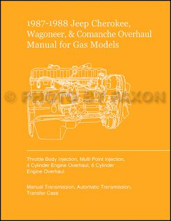 1987 1988 Jeep Cherokee Wagoneer COMANCHE Overhaul Manual Engine