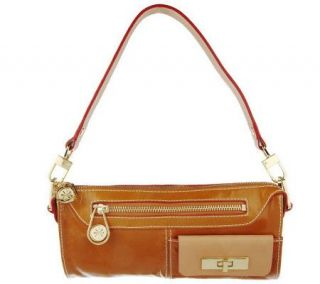 Isaac Mizrahi Live Demi Top Zip Leather Carpenter Bag —