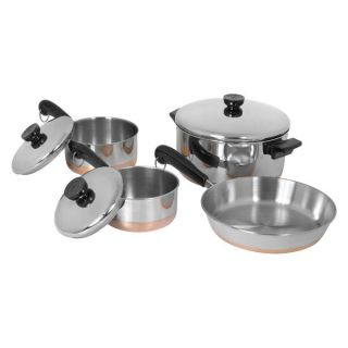 7pc Stainless Steel Copper Clad Bottom Cookware Set Brand New