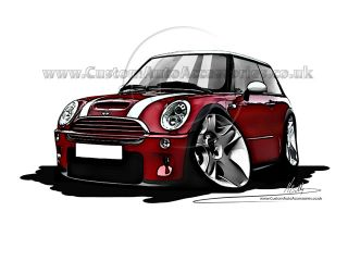 BMW Mini Cooper s Cartoon Car Caricature Red Personalise Reg Great