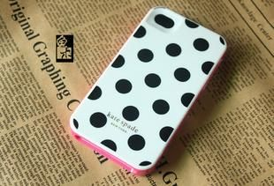 Contour Design Kate Spade Hard Black Polka Dot Case Cover for iPhone4