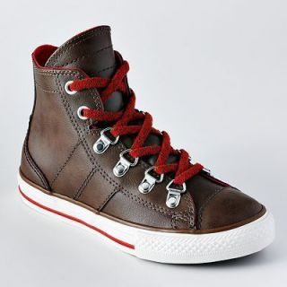 New Boys Shoes Converse Ct Sneaker Leather Brown Hi Top All Star Chuck