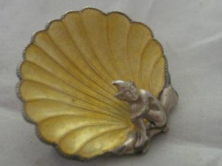 c1920 ART DECO STERLING SILVER & ENAMEL CORNISH IMP PIXIE SHELL BROOCH