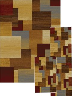 piece set modern geometric brown squares area rugs
