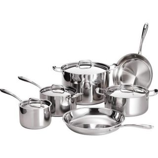 Tramontina 10 Piece 18/10 Stainless Steel TriPly Clad Cookware Set