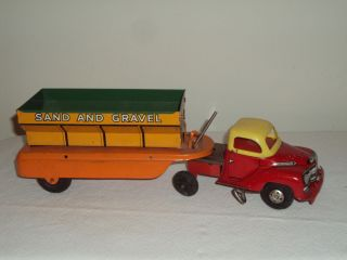 Courtland 1950s Tin Wind Up Sand Gravel Truck Side Tipper Dump Truck