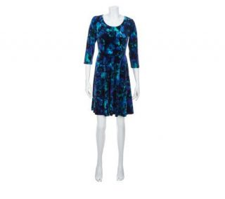 Isaac Mizrahi Live Watercolor Knit Velvet Dress   A227263