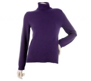 Isaac Mizrahi Live 2 Ply Cashmere Long Sleeve Turtleneck   A217172