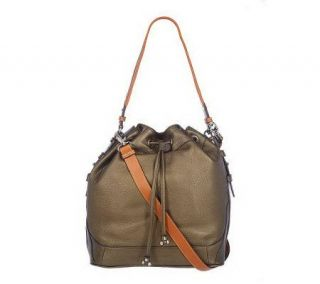 Isaac Mizrahi Live Pebble Leather Drawstring Hobo with Strap