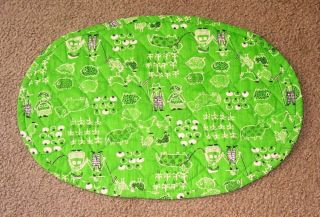1960s Quilted Placemat Farm Farmer Wife Pigs Cow Chicken Corn